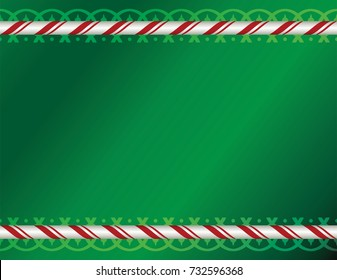 A green Christmas holiday background with candy cane and decorative borders illustration. Vector EPS 10 available.