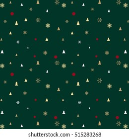 Green Christmas pattern for background or gift wrapping paper