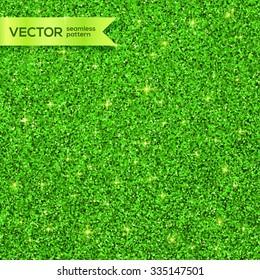 Green Christmas shining glitter vector seamless pattern