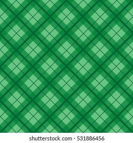 Green Christmas Tartan Vintage Background Vector Illustration.