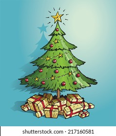 Green Christmas tree decorated in gold stars, red baubles and with lots of gold wrapped presents underneath. Hand drawn vector sketch isolated on blue background.