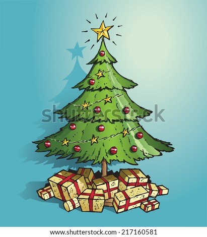 green christmas tree decorated in gold stars red baubles and with lots of gold wrapped - Green Christmas Tree With Blue Decorations