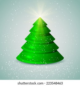 Green Christmas tree with falling snow on blue background, illustration.