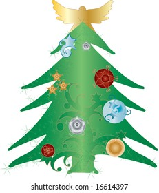 A green christmas tree with holiday ornaments and a golden angel silhouette on top.