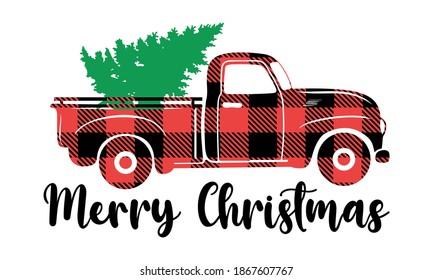 Green Christmas Tree on the Buffalo Plaid Vintage Truck -Christmas Vector and Clipart