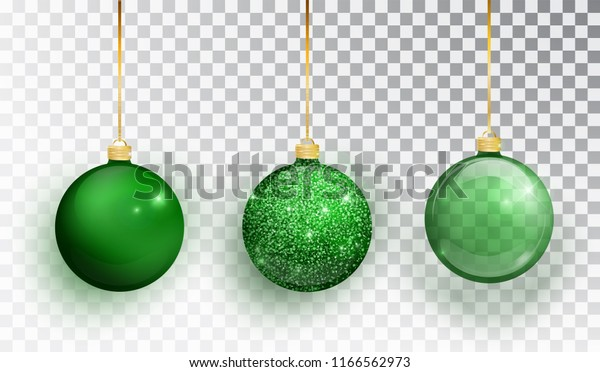 Green Christmas tree toy set isolated on a transparent background. Stocking Christmas decorations. Vector object for christmas design, mockup. Vector realistic object Illustration 10 EPS