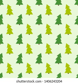 Green Christmas trees seamless pattern. Vector illustration