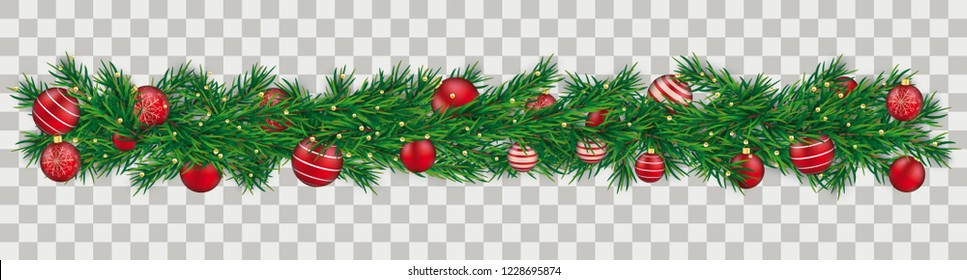 Green christmas twigs with red baubles on the checked background. Eps 10 vector file.