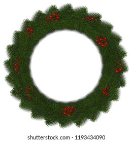 Green Christmas wreath with red berry vector isolated on white background. Xmas round garland decoration effect. Ring frame of branch christmas tree. Vector illustration.