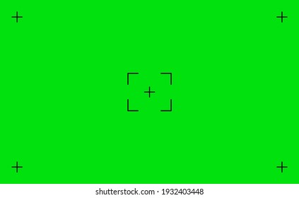 Green chroma screen background with tracking markers VFX motion, video footage replacement tracking markers element, green screen backdrop template with studio camera trackers on green background.
