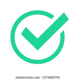Green circle check mark. Confirmation tick okey marks, accepted marked agree pictogram success sign and positive checked confirm marking checks box for accepted checklist flat vector icon