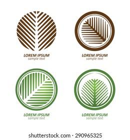 Green Circle palm Tree vector logo design. eco concept.Vector Illustration.