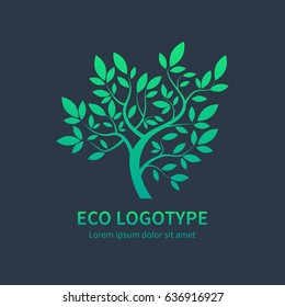 Green circle tree with leaves vector logo design template isolated on dark background. Ayurvedic tree icon, vector symbol of natural lifestyle. Alternative massage symbol, ayurvedic spa design