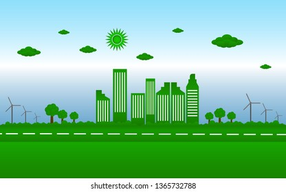 Green cities  concept,  world ecology with eco-friendly concept ideas vector illustration