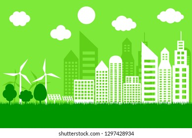 Green cities landscape. eco friendly concept. earth day and world environment day. paper art. vector illustration.