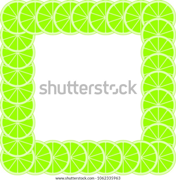 Green citrus background of cut fresh juicy lime rings on a white background. Green frame of fruit cuts.The concept of healthy fruit eat, diet meal