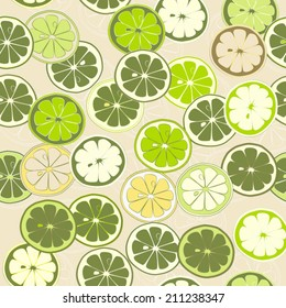 Green Citrus seamless pattern. Lemon lime grapefruit Vector background. Use for textiles, pillow, package, interior decoration, wallpaper, web background, wrapping paper, food & cosmetics labeling.