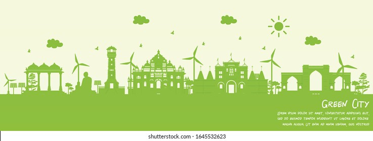 Green city of Ahmedabad, India Environment and ecology concept. Vector illustration.