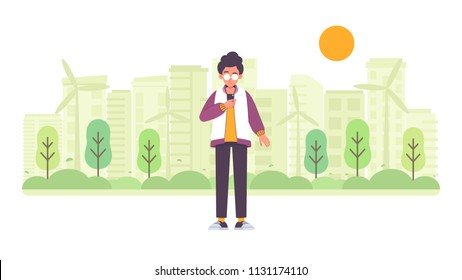 Green city background with young man and his smartphone vector illustration in modern style.