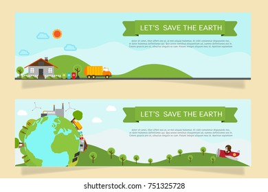 Green city banner recycle concept.save energy and save the earth flat vector.