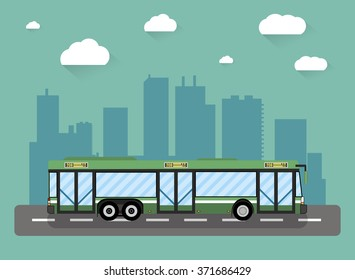 Green city bus in front of city silhouette and sky with clouds, vector illustration in flat design