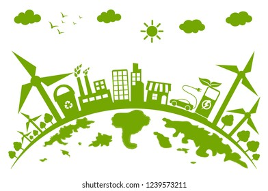 Green city concept with beautiful natural energy.