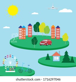 Green city concept in vector. Earth day poster. Ecological city illustration.