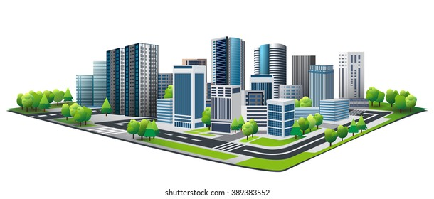 Green city. Design of lifestyle in metropolis concept, Urban cityscape. New town.