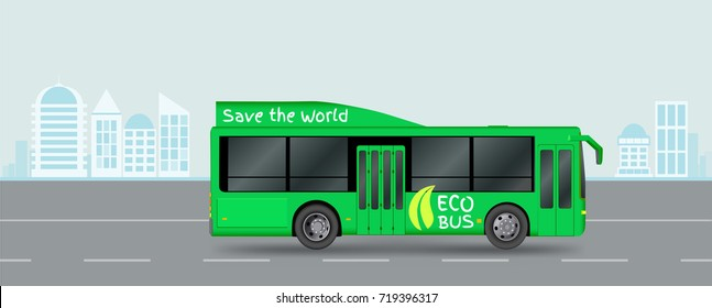 Green City eco bus on road. Illustration of electric Passenger transport. Vector illustration eps 10 isolated on white background