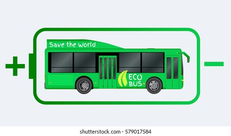 Green City eco bus template. Illustration of electric Passenger transport. Vector illustration eps 10 isolated on white background