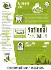 Green city, eco business, ecology gardening and environment protection poster template. Sustainable living ecology principles text layouts, decorated by eco badges with green tree and plant