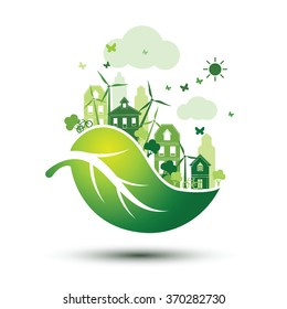 green city with green Eco leaves concept, vector illustration