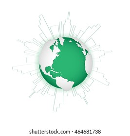 Green city. Ecology concept. Save life and environment background. Earth model