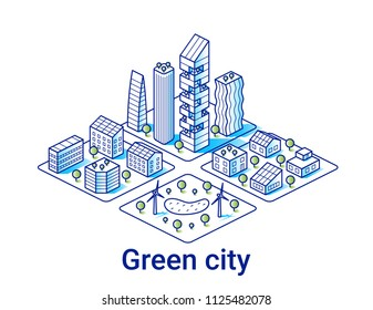 Grüne Stadtgrafik im linearen isometrischen Stil. Moderne Öko-Häuser und Wolkenkratzer mit Solarpaneelen. Kunstlinie. Alle Objekte editierbar.
