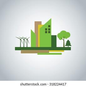 Green city illustration/design. Environmental concept.
