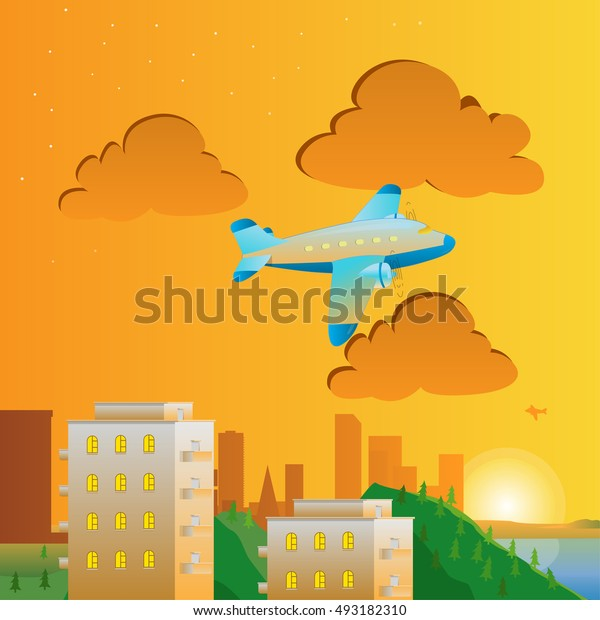 Green City Landscape with airbus at sunset.