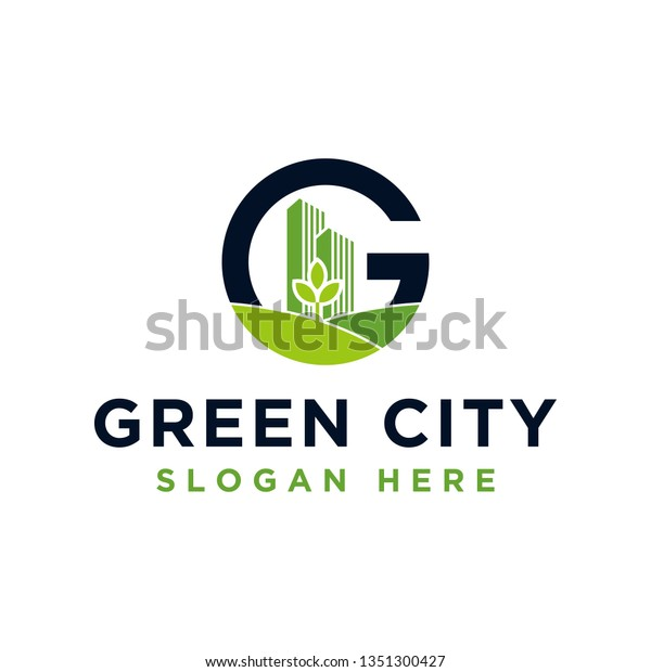 Green City Letter G Logo Design Stock Vector Royalty Free