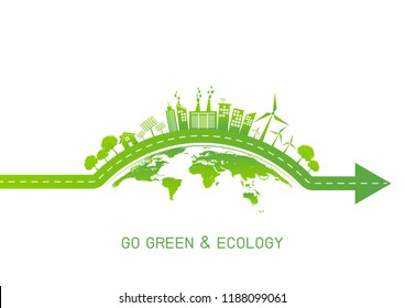 Green city on earth for Go green and Ecology friendly concept, Vector illustration