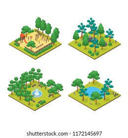 Green City Park Concept Set 3d Isometric View on a White Background Element Map. Vector illustration of Garden with People