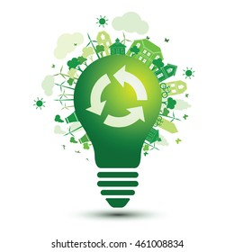 Green city and recycle logo with light bulb eco concept ,vector illustration