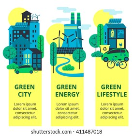 Green city set. Environmental protection, ecology concept vertical banners set. Vector illustration. Eco-city, green energy, lifstyle. Solar panels.
