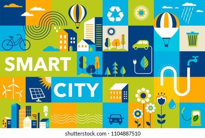 Green city, smart city concept, modern design. Geometric urban landscape, banner and poster