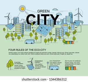 Green city, smart city concept. Modern eco-friendly technology. Panorama of the city in the style of linear design. Smart energy with environmental icons.