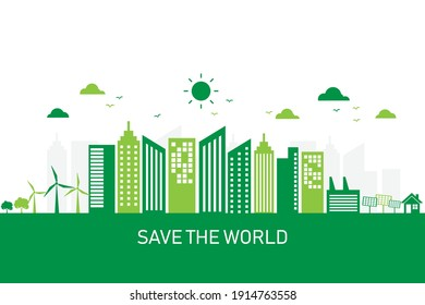 green city with sustainable development concept. save the world and energy. ecology environment and conservation. vector illustration in flat style modern design.