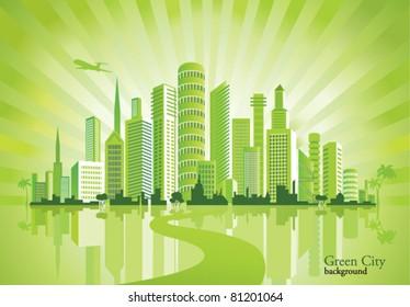 Green City. Urban background. Environment.