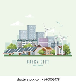 Green city vector concept. Infographic with set of buildings, infrastructure, modern technology and plants. Wind power and solar stations