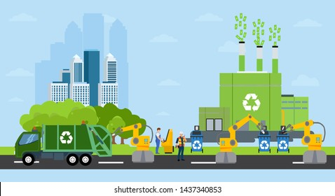 Green city and waste management landscape. Vector of a profitable recycling factory and automated robot sorting process on a background of eco friendly cityscape