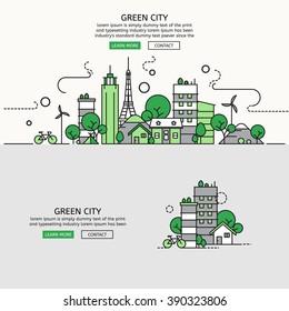 Green City for website banner and landing page , Flat line design for website element , eps10 vector format