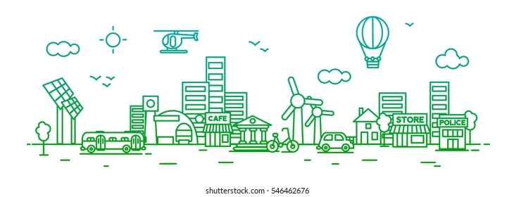 Green City for website banner and landing page , Flat line design for website element, vector