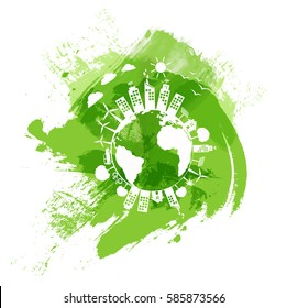 Green city of the world, Eco friendly concept with green watercolor paint background, Vector illustration